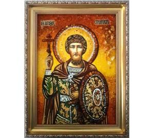 Феодор Стратилат - икона из янтаря (ар-84)