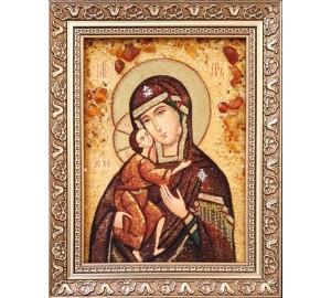 Феодоровская икона Божьей Матери - икона из янтаря (ар-384)