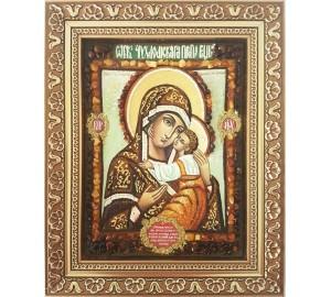 Галичская-Чухломская икона Божией Матери - икона с янтарем (ар-329)