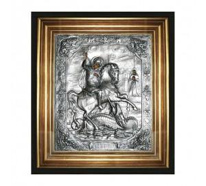 Георгий Победоносец - икона с серебром, в дубовом киоте под стеклом (юл-06)