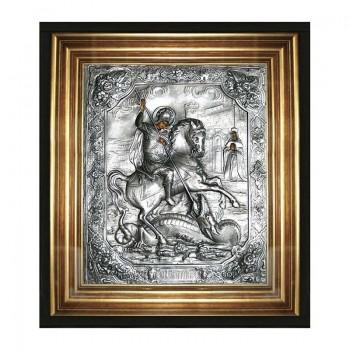 Георгій Побідоносець - ікона з сріблом, в дубовому кіоті під склом (юо-06)