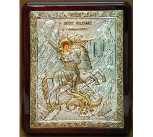 Георгий Победоносец - шикарная греческая икона в серебряном окладе, лакированная рамка (С726-Георгий)