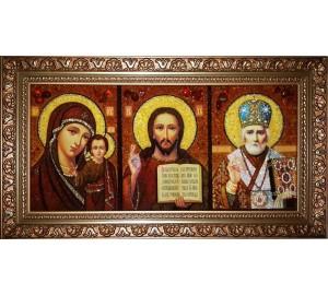 Господь, Казанская Богородица и Святой Николай - икона из янтаря, ручная работа (rb-201)