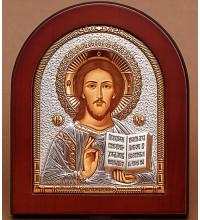Господь Вседержитель - Грецька ікона з сріблом та позолотою (EK5-181XAG)
