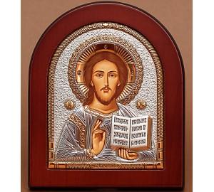 Господь Вседержитель - Греческая икона с серебром и позолотой (EK5-181XAG)