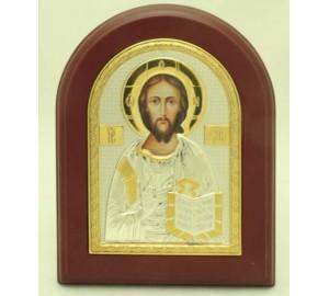 Господь Вседержитель - икона с серебром и позолотой (A-001XAG)