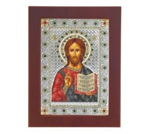 Господь Вседержитель - икона в деревянной квадратной рамке с кристаллами Swarovski (CLASSIC Stone)