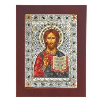 Господь Вседержитель - ікона в дерев'яній квадратній рамці з кристалами Swarovski (CLASSIC Stone)