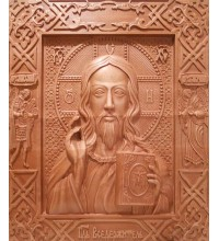 Господь Вседержитель - різьблена ікона з натурального дерева (р-31)