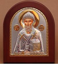 Греческая икона Спиридон Тримифунтский - икона с серебром и позолотой (GOLD)