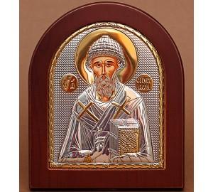 Грецька ікона Спиридон Триміфунтський - ікона з сріблом та позолотою (GOLD)