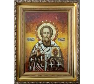 Григорий Богослов - икона с янтарем, ручная работа (ар-75)