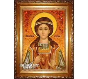 Христина (Кристина) мученица - Икона из янтаря, ручная работа (ар-27)
