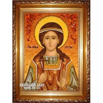 Христина (Христина) мучениця - Ікона з бурштина, ручна робота (ар-27)