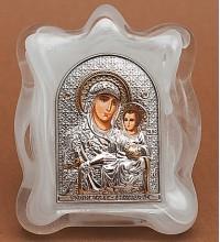 Иерусалимская Богородица - Красивая изящная икона в муранском стекле, серебро и позолота (EK1MAG Иерусалимская)
