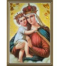 Иерусалимская икона Богородицы - Икона из янтаря (ар-15/1)