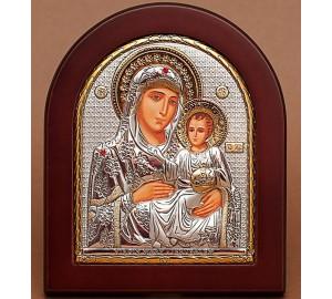 Иерусалимская икона Божьей Матери - Икона арочной формы с серебром и позолотой (GOLD)