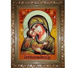 Игоревская икона Божьей Матери - янтарная икона ручной работы (ар-266)