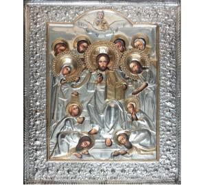 Иисус Христос Царь Славы - Писаная икона в серебряном окладе (хм-07)