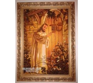 Иисус стучится в дверь (Ісус стукає в двері) - икона из янтаря (ар-237)