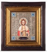 Икона Александр Невский - икона с серебром, в дубовом киоте (юл-32)
