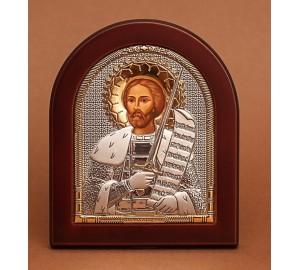 Икона Александр Невский - Красивая Икона из Греции с серебром и позолотой (ek3-194)