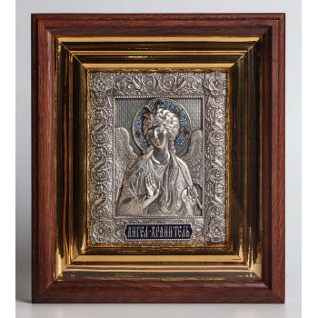 Икона Ангела Хранителя - икона в киоте, с серебром (ЮЛ-15)