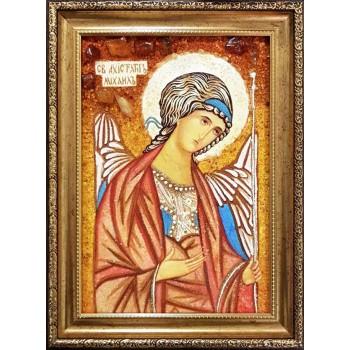 Икона Архангел Михаил -  икона из янтаря, 100% ручная работа (ар-356)