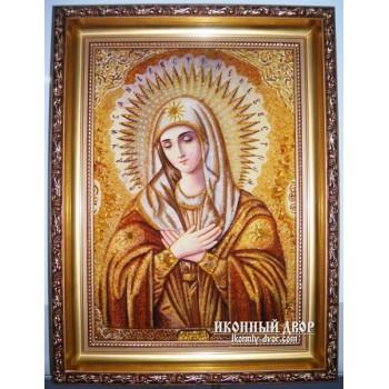 Икона Богоматери Умиление - Икона ручной работы из янтаря (ар-8)