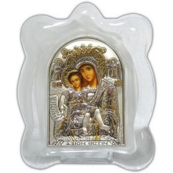 Икона Богородицы Достойно Есть - Икона в муранском стекле, серебро 925°,  позолота (EK1MAG Достойно есть)