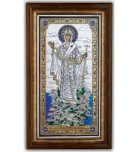 Ікона Богородиці Гори Афонської - Красива грецька Ікона під склом з сріблом та позолотою (SPECIAL)
