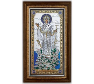 Икона Богородицы Горы Афонской - Красивая греческая Икона под стеклом с серебром и позолотой (SPECIAL)