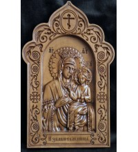 Икона Богородицы Избавительница - красивая икона из дерева с резьбой (ДВ-9)