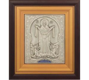 Ікона Богородиці Покрови - ікона з сріблом (юо-28)