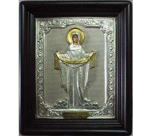 Икона Богородицы Покрова - писаная икона, с серебром (хм-71)