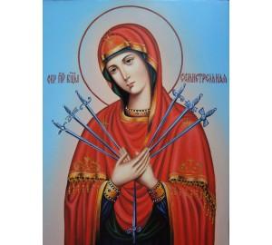 Икона Богородицы Семистрельная - удивительная писаная икона (Гр-04)