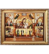 Икона Богородицы В скорбех и печалех утешение - икона с янтарем (ар-313)