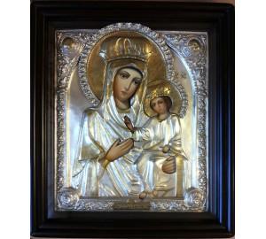 Ікона Божої Матері Чернігівська - ікона Писана в срібному окладі (хм-28)