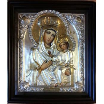Икона Божьей Матери Черниговская - Писаная икона в серебряном окладе (хм-28)