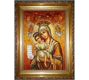 Икона Божьей Матери Достойно есть - янтарная икона ручной работы (ар-248)