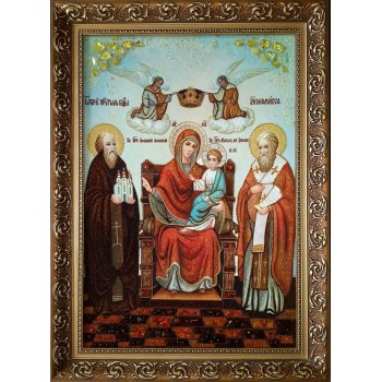 Икона Божьей Матери Экономисса (Домохранительница) - янтарная икона ручной работы (ар-268)
