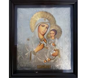 Икона Божьей Матери Иверская - писаная икона, с серебром (хм-50)