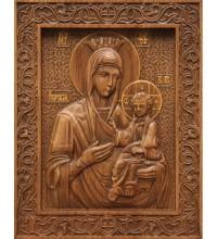 Икона Божьей Матери Иверская - резная икона из натурального дерева (р-19)
