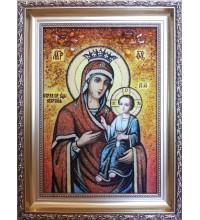 Икона Божьей Матери Иверская - янтарная икона ручной работы (ар-245)