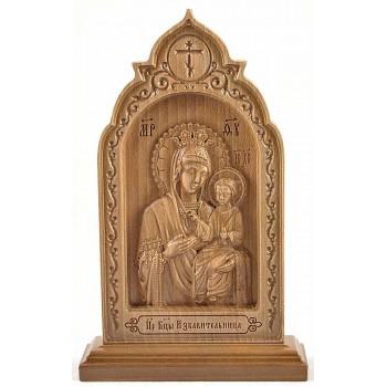 Икона Божьей Матери Избавительница - резная икона, из дерева (ДВ-15)