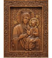 Икона Божьей Матери Избавительница - резная икона из натурального дерева (р-21)
