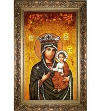 Ікона Божої Матері Милосердна (Юровичская) - ікона з янтаря (ар-307)