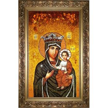 Икона Божьей Матери Милосердная (Юровичская) - икона из янтаря (ар-307)