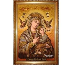 Икона Божьей Матери Неустанной Помощи - Икона ручной работы из янтаря (ар-222)