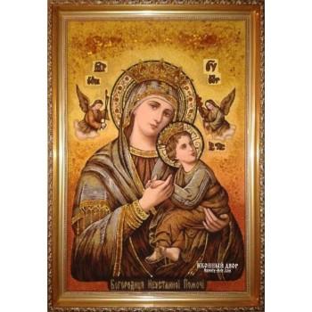 Ікона Божої Матері Неустанної Помочі - Ікона ручної роботи з бурштину (ар-222)